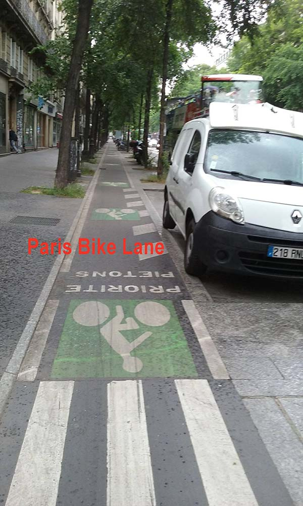 paris bike lane - Scenic Cycle Tours - San Diego Bike Tours